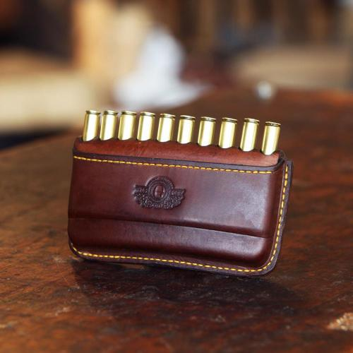 The Somerset Open Cartridge Pouch, leather product, logo, cartridges, yellow stitching, handcrafted