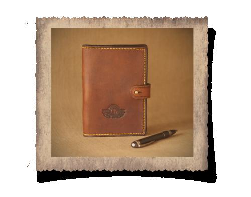 leather journal case, pen, journal, stud