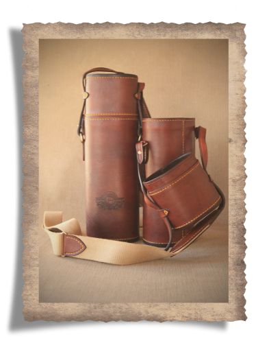 The Grahamstown Telescope Carry Case, leather product, yellow stitching, cotton canvas strap, logo