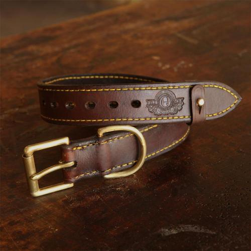 The Simonstown Dog Collar - 50mm, leather products, brass buckle, brass stud, yellow stitching, holes, logo, handcrafted