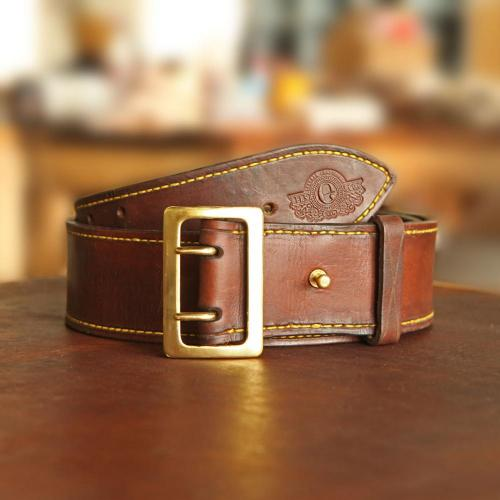 Hogsback Leather Hunting Belt, bass finishes, holes, brass studs, logo, leather product, yellow stitching, handcrafted
