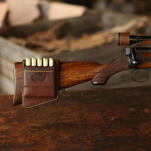 The Kimberley Rifle Stock Cartridge Pouch, bullets, gun, bullet holder, yellow stitching, logo, leather product, handcrafted