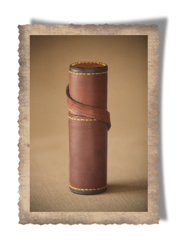 The Springbok Silencer Sleeve, leather case, handcrafted, yellow stitching