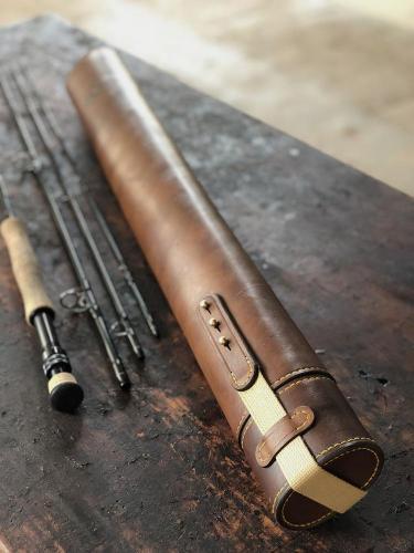 fly rod tube, leather tube, fly fishing
