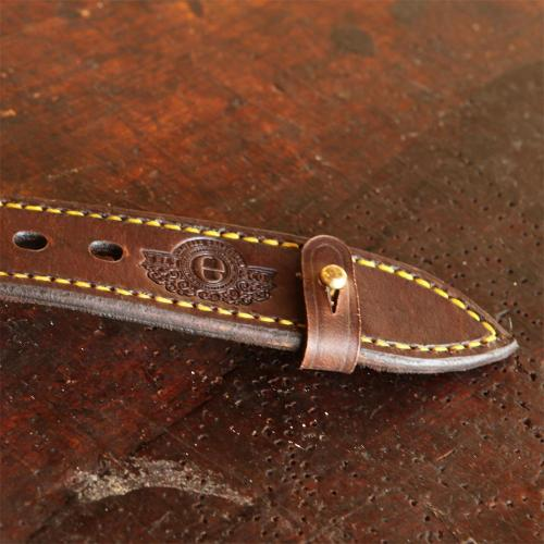 The Simonstown Dog Collar - 50mm, leather products, brass studs, logo, yellow stitching, holes, handcrafted
