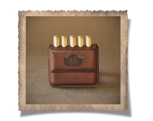 Rhodes Cartridge Wallet, cartridges, logo, yellow stitching, leather product, handcrafted