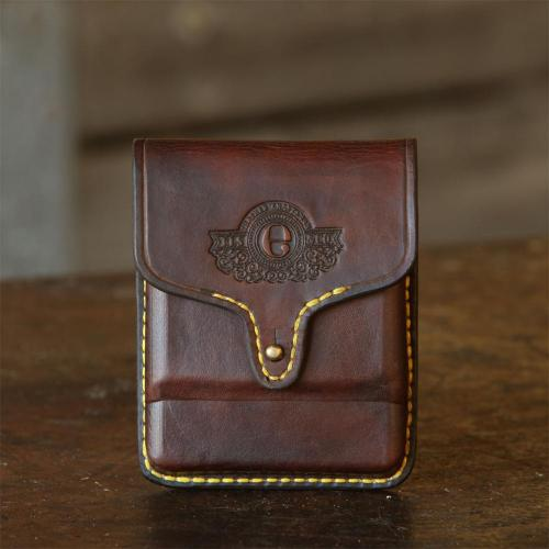 Rhodes Classic Cartridge Pouch, brass stud, logo, leather product, yellow stitching, handcrafted